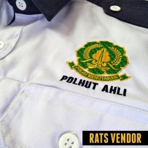 PDL-Lengan-Pendek-Polhut-Ahli-Warna-Putih-Tampak-Pakai-Bordir-Depan