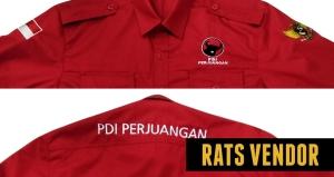Kemeja-PDL-Partai-PDI-Perjuangan-Warna-Merah-Tampak-Depan-Dan-Belakang