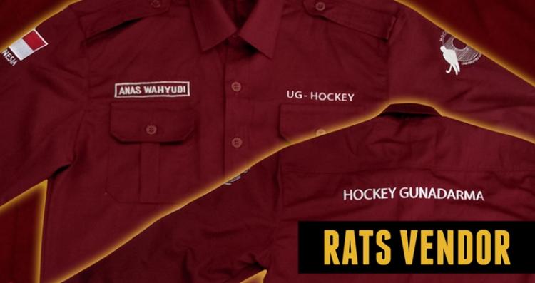 Kemeja-PDL-Maroon-Komunitas-Hockey-Kampus-Gunadarma-detail-bordir