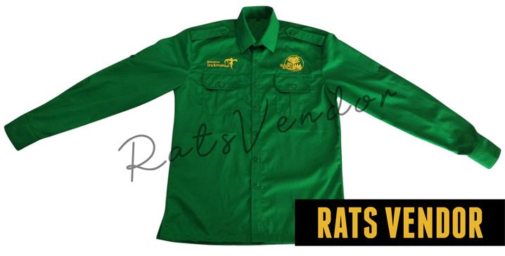 Kemeja-PDL-Panjang-Rats-Vendor-Warna-Hijau-Pakai-Bordir-Tampak-Depan-Maret-2020